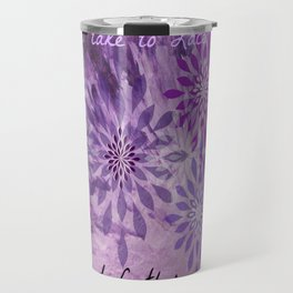 LACE AND LEATHER - Underwear Love Project Deep Purple Lace Pattern Fancy Elegant Typography Abstract Travel Mug