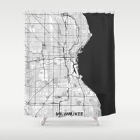 milwaukee Shower Curtains featuring Milwaukee Map Gray by City Art Posters