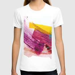 Pink Lemonade [2]: a minimal, colorful abstract mixed media with bold strokes of pinks, and yellow T-shirt