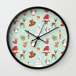 Christmas Elements Reindeer Design Pattern Wall Clock