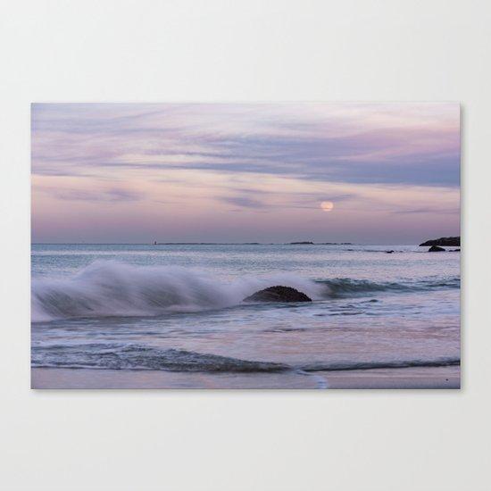 Pastel Ocean Moonrise Canvas Print