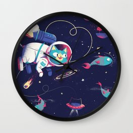 The Adventures of Space Cat Wall Clock