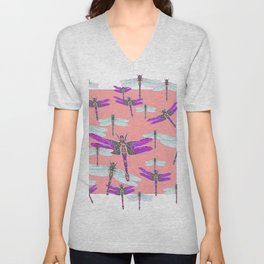 PURPLE  & GOSSAMER WHITE  DRAGONFLIES CORAL ART DESIGN  ART decor, furn Unisex V-Neck