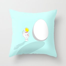 Space Odyssey | Astronaut vs. Egg | Cute Astronaut | pulps of wood Throw Pillow