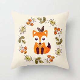 LITTLE FOX WITH AUTUMN BERRIES Throw Pillow