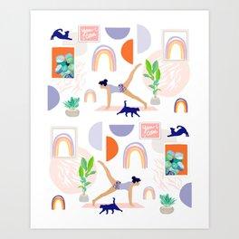 Girl Power Yoga pose Pattern Art Print