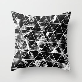 Geometric Whispers - Abstract, black and white triangular, geometric pattern Throw Pillow
