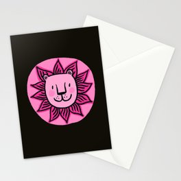 Pink lion face Stationery Cards