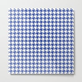 Blue Houndstooth Pattern Metal Print