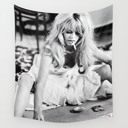 Brigitte Bardot Playing Cards, Black and White Photograph Wall Tapestry