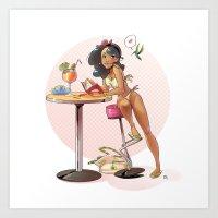 pinup Art Prints featuring Pinup by biboun