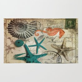 french botanical art seahorse teal green starfish Rug