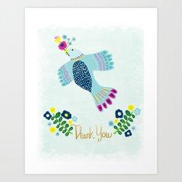 Thank You Bird Art Print