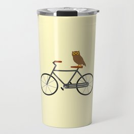 Owl Riding Bike Travel Mug