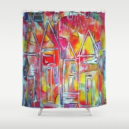 Orange Neon Houses Shower Curtain