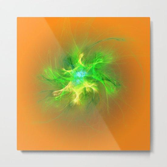 Green Burst Fractal Metal Print