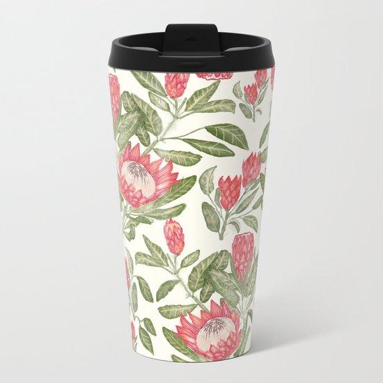 Protea Pattern Metal Travel Mug