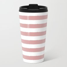 Mauve and white stripes - classy college student collection Metal Travel Mug