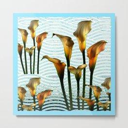 Blue Swamp Calla Lilies Metal Print