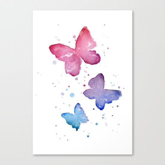 Butterflies Watercolor Abstract Splatters Canvas Print