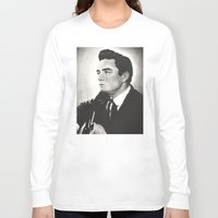 johnny cash Long Sleeve T-shirts featuring Johnny Cash by bellevuetriangle