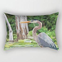 Great Blue Heron in Marsh Rectangular Pillow