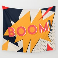 comic Wall Tapestries featuring COMIC BOOM by Allyson Johnson