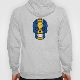 Sugar Skull with Roses and Flag of Barbados Hoody