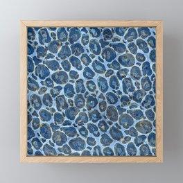 Leopard Faux Fur Texture Blue marble Framed Mini Art Print