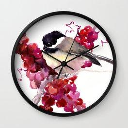 Chickadee and Berries Wall Clock