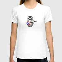 puerto rico T-shirts featuring Baby Penguin Playing Puerto Rican Flag Guitar by Jeff Bartels