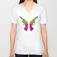 guns V-neck T-shirts featuring Play Guns by kakin