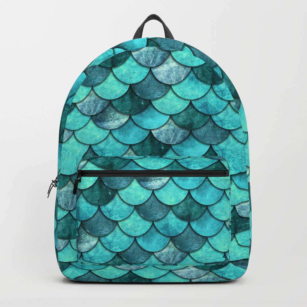 Mermaid Scales Turquoise Backpack by Deytype