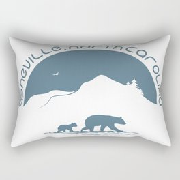 Asheville - Mountains & Black Bears - AVL 11 Greyblue Rectangular Pillow