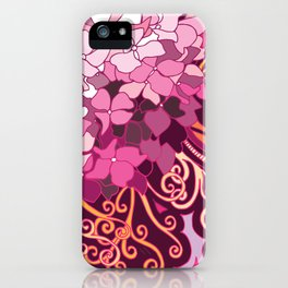 zentangle inspired Hortensia_rose pink doodle iPhone Case