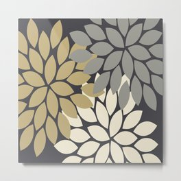 Bold Colorful Gold Ivory Charcoal Grey Dahlia Flower Burst Petals Metal Print