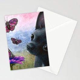 Dog 91 Black Chihuahua Dog Stationery Cards