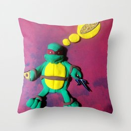 Red mask turtle Throw Pillow