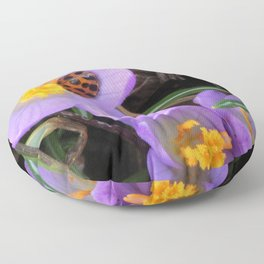 Lady Bug napping in Crocus Floor Pillow