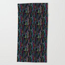 Black Rainbow Doodle & Dot Beach Towel