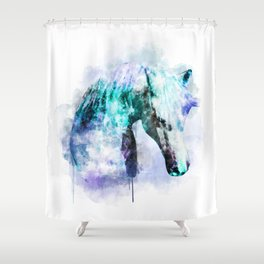 Horse Watercolor, Horse Print, Watercolor Print, Watercolor Animal, Horse Painting, Horse Gift Print Shower Curtain