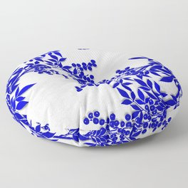 BLUE AND WHITE  TOILE LEAF Floor Pillow