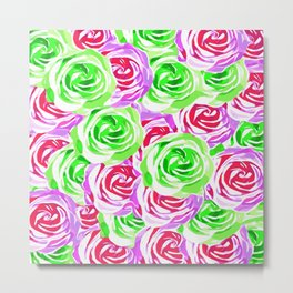 closeup rose pattern texture abstract background in pink red green Metal Print