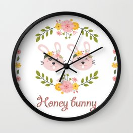 Honey bunny. Lesbian Rabbits couple Wall Clock