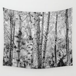 Into the forest. BW panoramic Wall Tapestry