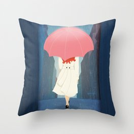 She Went Walking In The Rain Throw Pillow