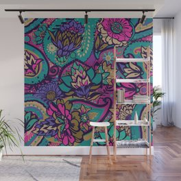 Floral pattern in oriental paisley style Wall Mural