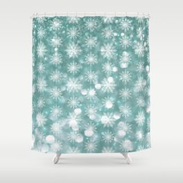 Holiday Teal and Flurries Shower Curtain