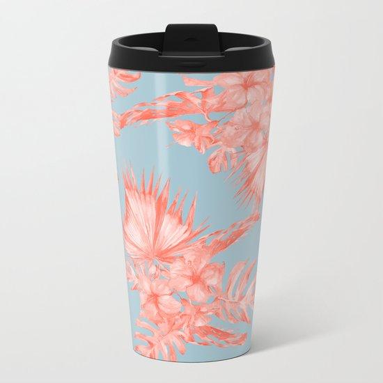Dreaming of Hawaii Coral on Ocean Blue Metal Travel Mug