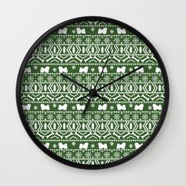 Havanese fair isle christmas sweater pattern dog breed gifts festive holidays Wall Clock